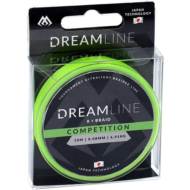 Плетеный шнур Mikado DREAMLINE Competition 0.16 fluo green (10 м) - 15.54 кг.