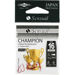 Крючки Mikado SENSUAL - CHAMPION № 10 RED (с лопаткой) ( 10 шт.)