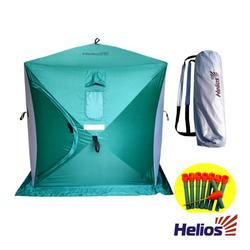 Палатка зимняя куб 1,5х1,5 (3зеленый/2серый) Helios