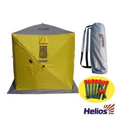 Палатка зимняя куб 1,5х1,5 (4желтый/1серый) Helios