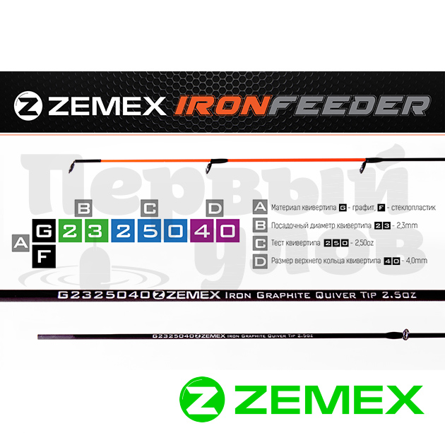 Квивертип ZEMEX IRON Graphite 2.3 мм, 0.5 oz